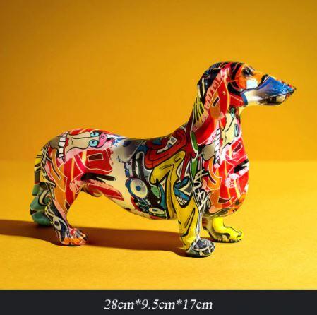 Colorful Graffiti Dachshund Statue