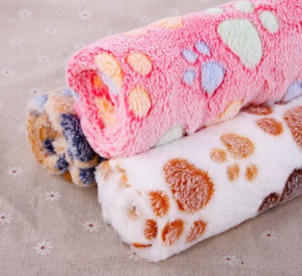 Soft Paw Print Dog Blanket