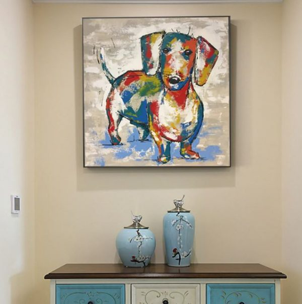 Dachshund Abstract Painting Art Poster