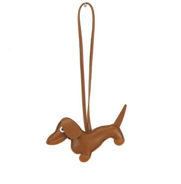 Cute Dog Leather Keychain