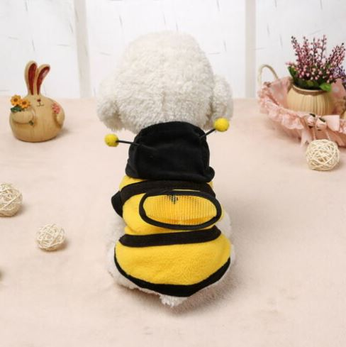 Bee Fancy Dog Costume is a cute and soft fleece costume with hoodie to keep your pet warm and fashionable at the same time.