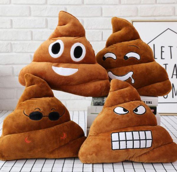 Cute Poop Emoji Throw Pillow