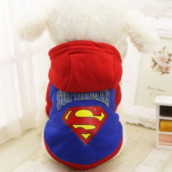Superman Pet Hoodie Cartoon Print