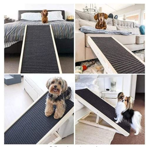 Adjustable Pet Ramp for All Dogs and Cats - for Couch or Bed with Paw Traction Mat